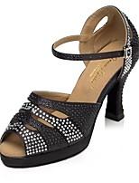 Недорогие -Жен. Обувь для латины Сатин На каблуках Стразы Тонкий высокий каблук Персонализируемая Танцевальная обувь Черный