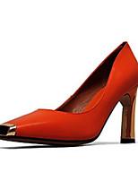 Недорогие -Жен. Наппа Leather Осень Обувь на каблуках На толстом каблуке Черный / Красный