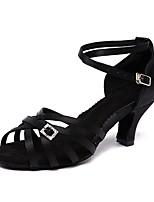 Недорогие -Жен. Обувь для латины Сатин На каблуках Кристаллы Кубинский каблук Персонализируемая Танцевальная обувь Черный