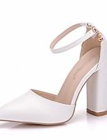 Недорогие -Жен. Полиуретан Весна лето Милая Свадебная обувь На толстом каблуке Заостренный носок Пряжки Белый / Свадьба