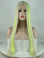 Недорогие -Синтетические кружевные передние парики Жен. Прямой Зеленый Средняя часть 180% Человека Плотность волос Искусственные волосы 18-26 дюймовый Регулируется / Кружева / Жаропрочная Зеленый Парик Длинные