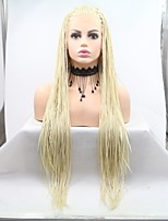 Недорогие -Синтетические кружевные передние парики Жен. переплетенный Белый Стрижка каскад 130% Человека Плотность волос Искусственные волосы 24 дюймовый Женский Белый Парик Длинные Лента спереди