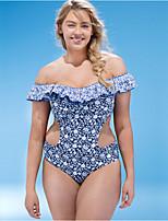 abordables -Femme Bleu Slip Brésilien Une-pièce Maillots de Bain - Fleur Imprimé XXL XXXL XXXXL
