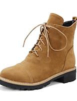 Недорогие -Жен. Замша / Кожа Осень Ботинки На толстом каблуке Закрытый мыс Ботинки Черный / Верблюжий