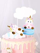 Недорогие -Украшения для торта Классика / Праздник / единорог Художественные / Ретро / Уникальный дизайн Чистая бумага День рождения с Планка 1 pcs Пенополиуретан