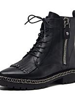 Недорогие -Жен. Наппа Leather Осень Ботинки На толстом каблуке Закрытый мыс Ботинки Черный