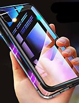 Недорогие -Кейс для Назначение Apple iPhone X / iPhone XR Защита от удара / Прозрачный / Магнитный Чехол Однотонный Твердый Закаленное стекло для iPhone XS / iPhone XR / iPhone XS Max
