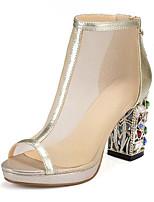Недорогие -Жен. Наппа Leather Лето На каждый день / Минимализм Обувь на каблуках На толстом каблуке Открытый мыс Золотой / Серебряный