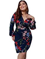 Недорогие -женское повседневное платье-футляр миди слим с v-образным вырезом белый черный королевский синий