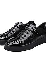 Недорогие -Муж. Комфортная обувь Микроволокно Наступила зима Туфли на шнуровке Черный / Серебряный