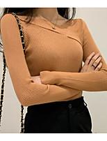 Недорогие -женская стройная футболка азиатского размера - сплошной V-образный вырез