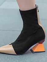 Недорогие -Жен. Наппа Leather Лето Ботинки На толстом каблуке Ботинки Коричневый / Миндальный