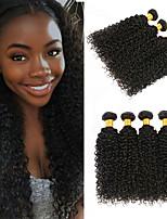Недорогие -4 Связки Бразильские волосы Малазийские волосы Kinky Curly Не подвергавшиеся окрашиванию Необработанные натуральные волосы Косплей Костюмы Человека ткет Волосы Сувениры для чаепития 8-28 дюймовый