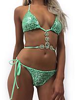 Недорогие -Жен. Классический Зеленый С завязками по бокам Бикини Купальники - Однотонный Пайетки M L XL