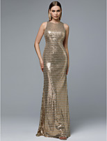 cheap -Sheath / Column Jewel Neck Floor Length Sequined Sparkle & Shine Formal Evening Dress with Sequin by TS Couture®