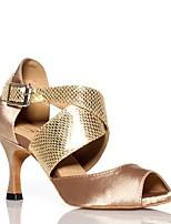 Недорогие -Жен. Обувь для латины Сатин На каблуках Планка Тонкий высокий каблук Персонализируемая Танцевальная обувь Золотой