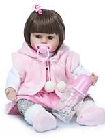 Недорогие -NPKCOLLECTION Куклы реборн Кукла для девочек Девочки 18 дюймовый Винил - Подарок Очаровательный Искусственная имплантация Коричневые глаза Детские Игрушки Подарок