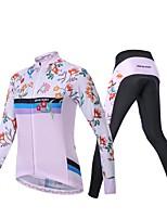 Недорогие -Realtoo Жен. Длинный рукав Велокофты и лосины - Розовый Велоспорт Наборы одежды Дышащий 3D-панель Виды спорта Спандекс Классика Горные велосипеды Шоссейные велосипеды Одежда / Слабоэластичная