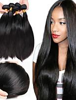 Недорогие -6 Связок Бразильские волосы Малазийские волосы Прямой Не подвергавшиеся окрашиванию Необработанные натуральные волосы Подарки Косплей Костюмы Головные уборы 8-28 дюймовый Естественный цвет