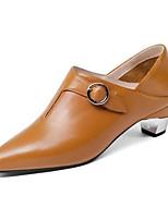 Недорогие -Жен. Наппа Leather Весна Обувь на каблуках На толстом каблуке Черный / Желтый