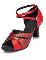 Недорогие -Жен. Обувь для латины Синтетика На каблуках Планка Толстая каблук Персонализируемая Танцевальная обувь Черный / Красный