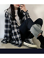Недорогие -Жен. Рубашка Свободный силуэт Шахматка