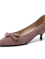 Недорогие -Жен. Замша / Овчина Осень Обувь на каблуках На шпильке Черный / Розовый и белый / Хаки