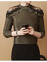 Недорогие -женская стройная футболка азиатского размера - цветная круглая шея