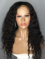 Недорогие -Натуральные волосы Лента спереди Парик Бразильские волосы Волнистый Черный Парик Боковая часть 130% Плотность волос с детскими волосами Природные волосы Для темнокожих женщин 100% девственница 100