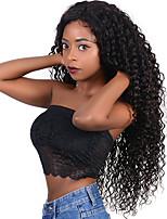 Недорогие -человеческие волосы Remy Лента спереди Парик Бразильские волосы Кудрявый Парик Ассиметричная стрижка 130% Плотность волос с детскими волосами Натуральный Удобный 100% девственница Нейтральный Жен.