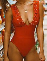 Недорогие -Жен. Красный Смелые Закрытый купальник Купальники - Однотонный Открытая спина S M L