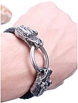 Недорогие -Муж. Черный Старинный Браслет цельное кольцо Кожа Стиль Браслеты Бижутерия Черный Назначение Повседневные
