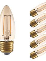 Недорогие -6 шт. Gmy светодиодные лампы канделябров b10 2 Вт свечи накаливания эквивалент 17 Вт с цоколем e26 2200 К янтарь старинные люстры декоративные