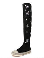 Недорогие -Жен. Искусственная кожа Наступила зима На каждый день Ботинки На плоской подошве Черный / Коричневый