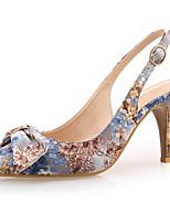 Недорогие -Жен. Синтетика Весна лето Милая Обувь на каблуках На шпильке Заостренный носок Бант Синий