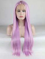Недорогие -Синтетические кружевные передние парики Жен. Прямой Фиолетовый Средняя часть 180% Человека Плотность волос Искусственные волосы 18-26 дюймовый Регулируется / Кружева / Жаропрочная Фиолетовый Парик