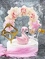 Недорогие -Украшения для торта Классика / Праздник / Свадьба Художественные / Ретро / Уникальный дизайн Чистая бумага Свадьба / День рождения с Цветы 1 pcs Пенополиуретан