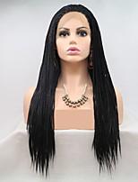 Недорогие -Синтетические кружевные передние парики / Дреды / Faux Locs переплетенный Черный Стрижка каскад / тесьма Черный 130% Человека Плотность волос Искусственные волосы 24 дюймовый Жен. / Лента спереди