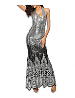 cheap -A-Line / Mermaid / Trumpet Halter Neck Floor Length Sequined Beautiful Back Formal Evening Dress with Beading / Sequin / Crystals by LAN TING Express / Embroidery