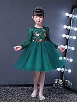 Недорогие -Дети Девочки Винтаж / Активный Однотонный Длинный рукав Средней длины Платье Зеленый