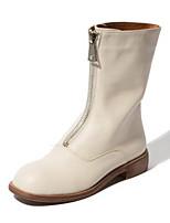 Недорогие -Жен. Наппа Leather Осень Милая / Минимализм Ботинки На низком каблуке Заостренный носок Сапоги до середины икры Белый / Черный