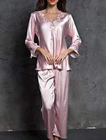 Недорогие -Жен. Глубокий V-образный вырез Костюм Пижамы Однотонный