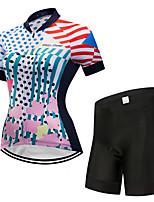 Недорогие -FirtySnow Жен. С короткими рукавами Велокофты и велошорты - Белый Велоспорт Наборы одежды Дышащий Быстровысыхающий Виды спорта Полиэстер Однотонный Горные велосипеды Шоссейные велосипеды Одежда