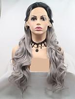 Недорогие -Синтетические кружевные передние парики переплетенный / Loose Curl Темно-серый Стрижка каскад Серый 130% Человека Плотность волос Искусственные волосы 24 дюймовый Жен. Женский Темно-серый / Черный