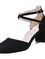 Недорогие -Жен. Полиуретан Весна Обувь на каблуках На толстом каблуке Квадратный носок Черный / Розовый / Миндальный