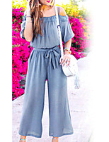 Недорогие -Жен. Повседневные Классический Синий Черный Комбинезоны, Однотонный XXL XXXL XXXXL С короткими рукавами