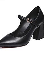 Недорогие -Жен. Наппа Leather Весна Обувь на каблуках На толстом каблуке Черный