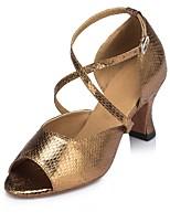 Недорогие -Жен. Обувь для латины Синтетика На каблуках Планка Тонкий высокий каблук Персонализируемая Танцевальная обувь Золотой / Черный / Белый