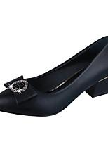 Недорогие -Жен. Полиуретан Весна Минимализм Обувь на каблуках На толстом каблуке Черный / Бежевый