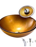 Недорогие -умывальник для ванной / смеситель для ванной / монтажное кольцо для ванной Современный / Античный - Закаленное стекло Круглый